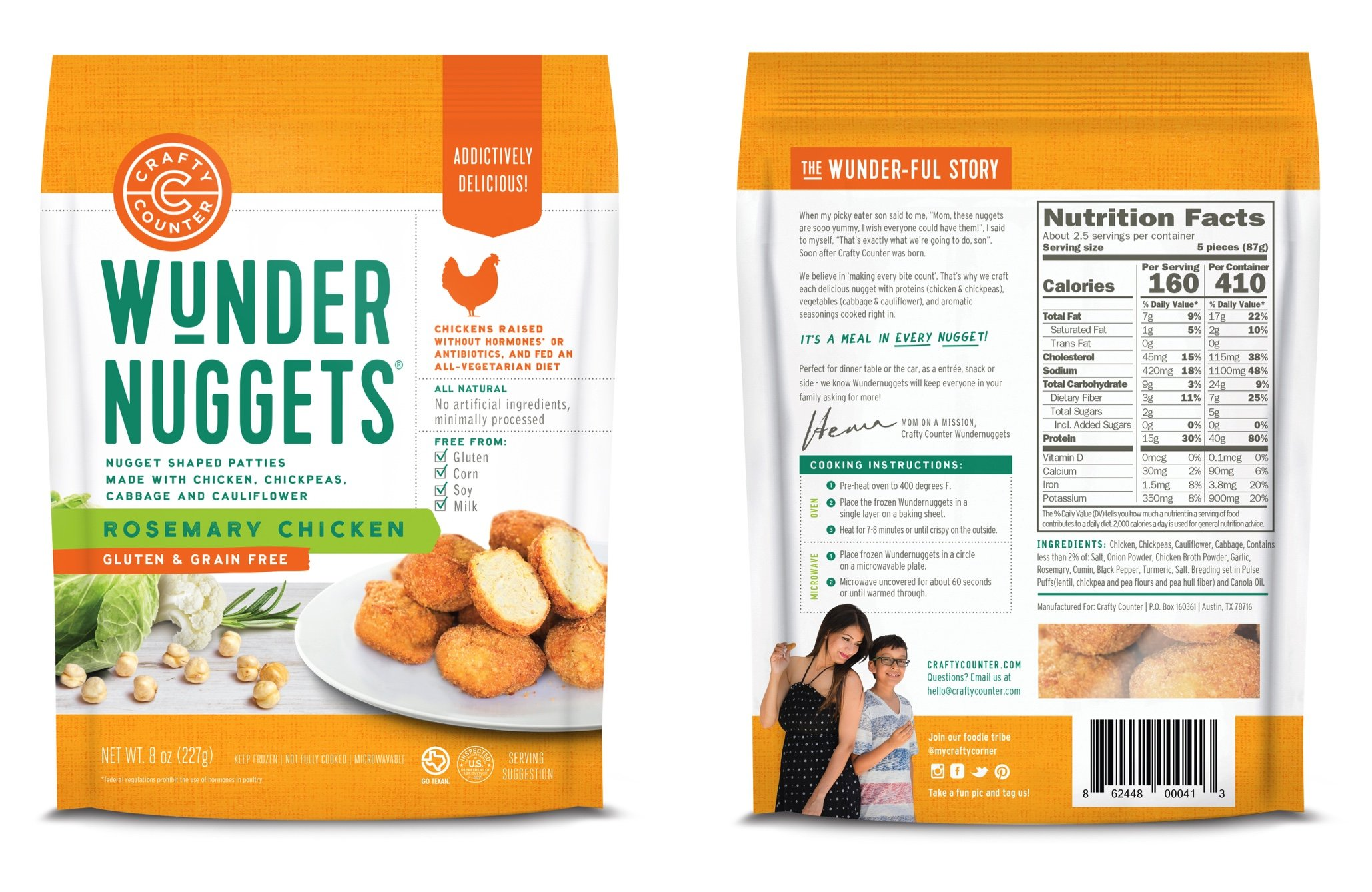 Wundernuggets - Gluten & Grain Free Rosemary Chicken with Veggies and Whole Grains - Pack of 6 Bags (14-16 wundernuggets in each bag) - Free of All Top 8 Allergens by Wundernuggets
