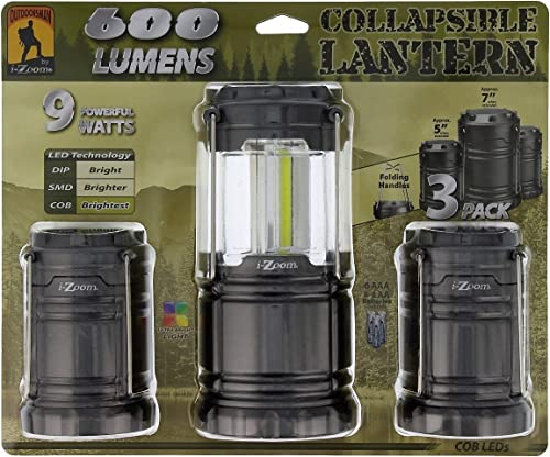 i-Zoom Collapsible Lantern, 9 Powerful Watts, 600 Lumens 3 pcs'set