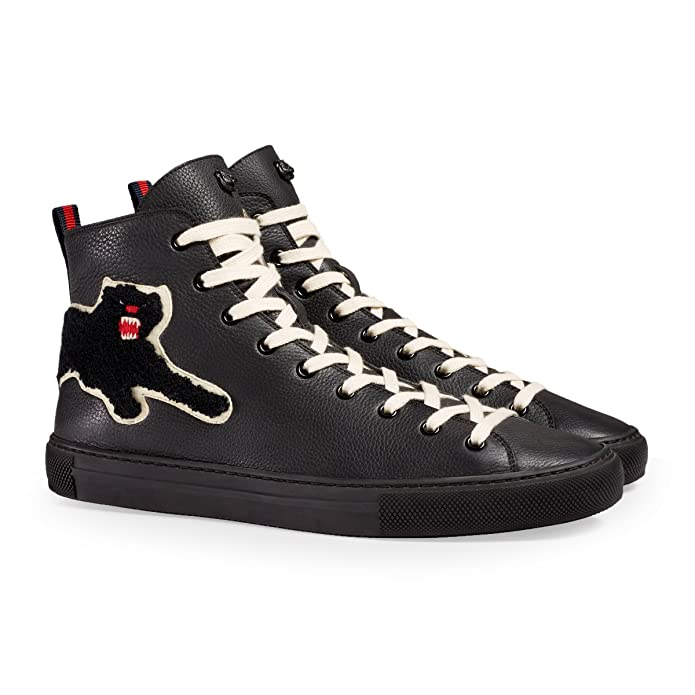 new arrivals 354f8 301e2 Amazon.com  Gucci Men s Major Patch Leather High Top Sneaker, Black (8.5 US    8 UK)  Shoes
