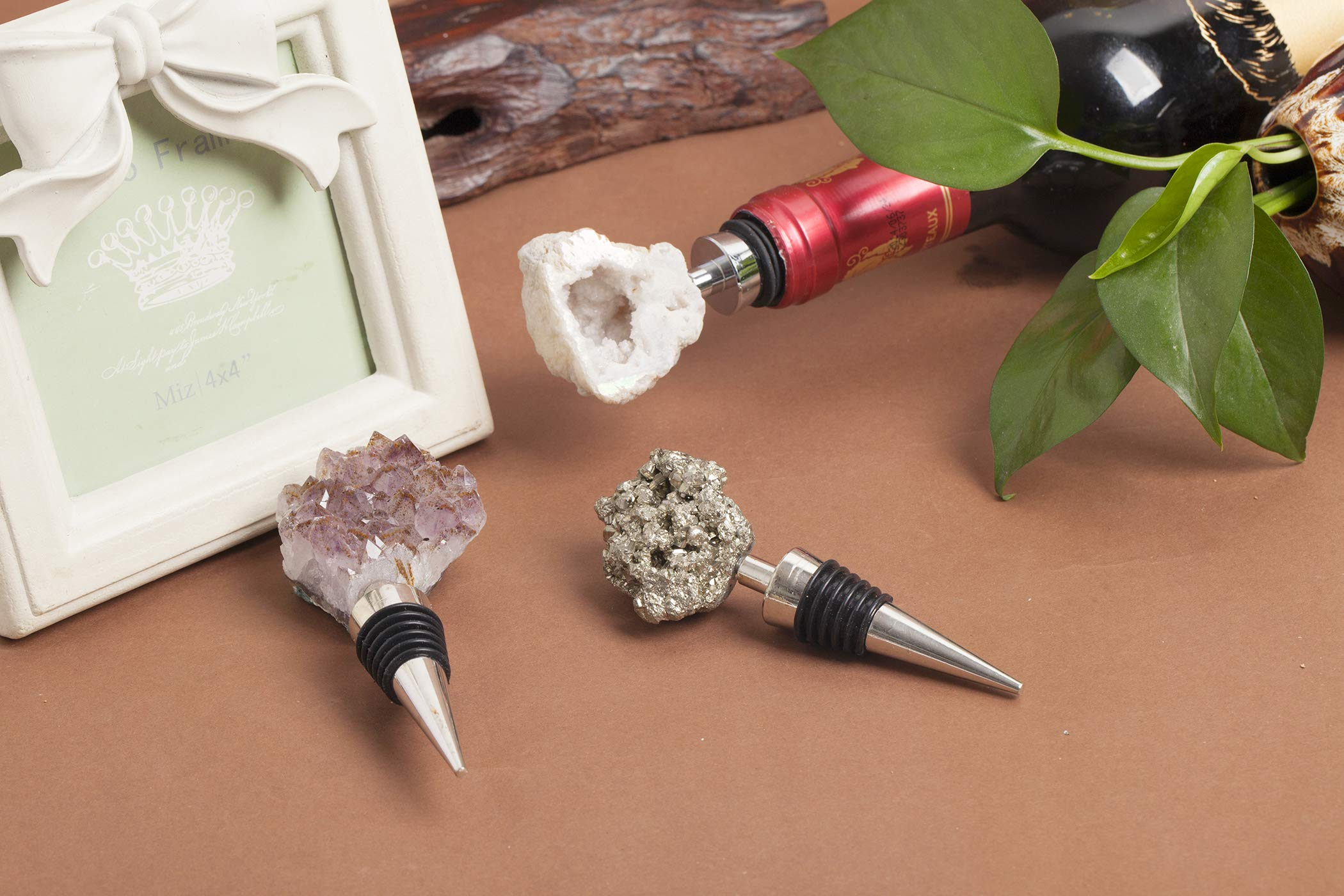 AMOYSTONE Wine Stoppers Natural Geode Crystal Rock Stone Bar Tools 3Pcs (Mix, 1.5-2'') Irregular by AMOYSTONE