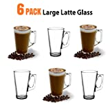 ANSIO® Large Latte Coffee Glass Cups - 385ml (13 oz) - Gift Box of 6 Latte Glasses - Compatible with Tassimo Machine (6 Pack)