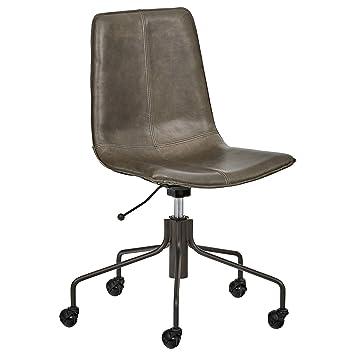 Rivet Industrial Slope Top Grain Leather Swivel Office Chair, 24.41u0026quot;W,  ...
