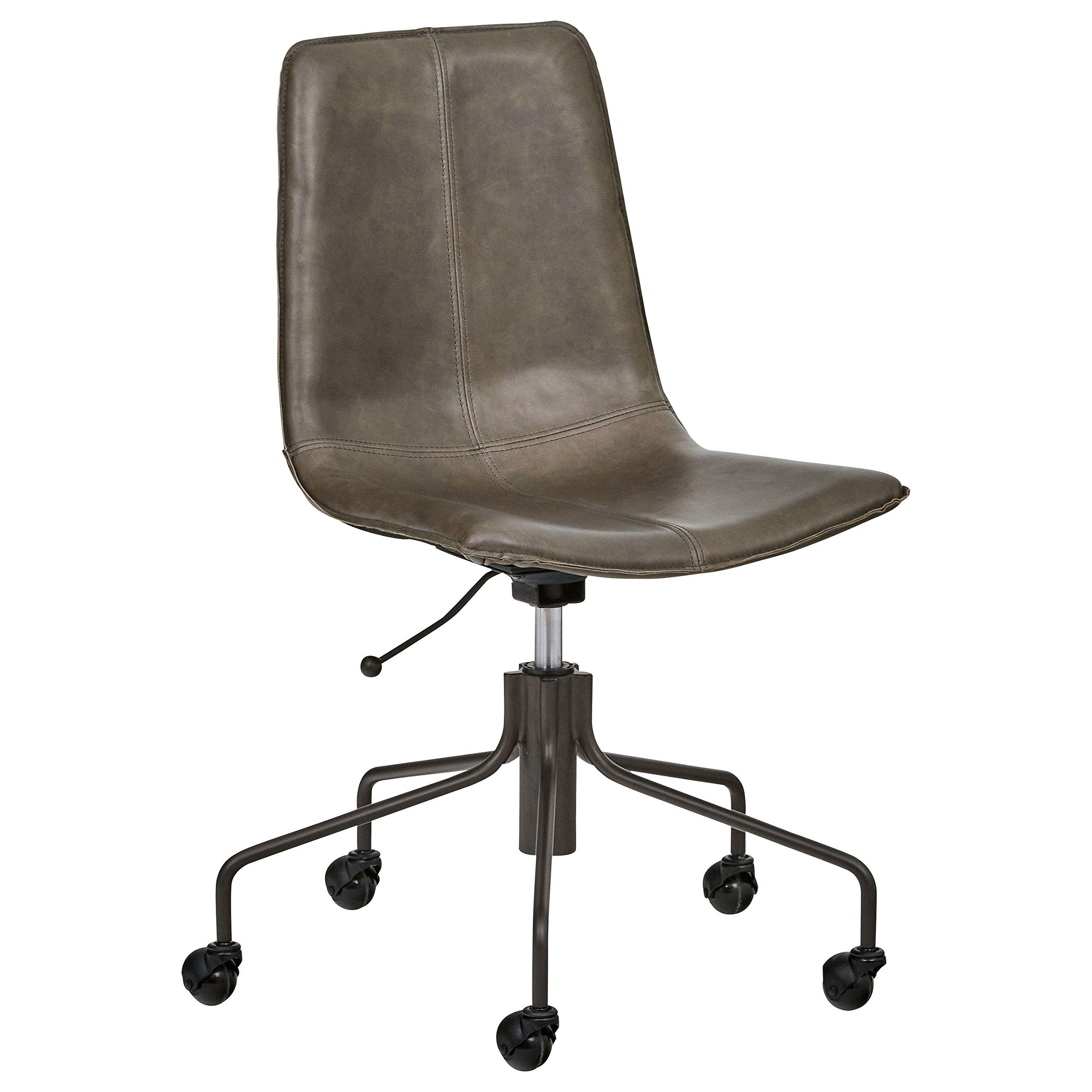 Rivet Industrial Slope Top-Grain Leather Swivel Office Chair, 24.41'' W, Grey Fog