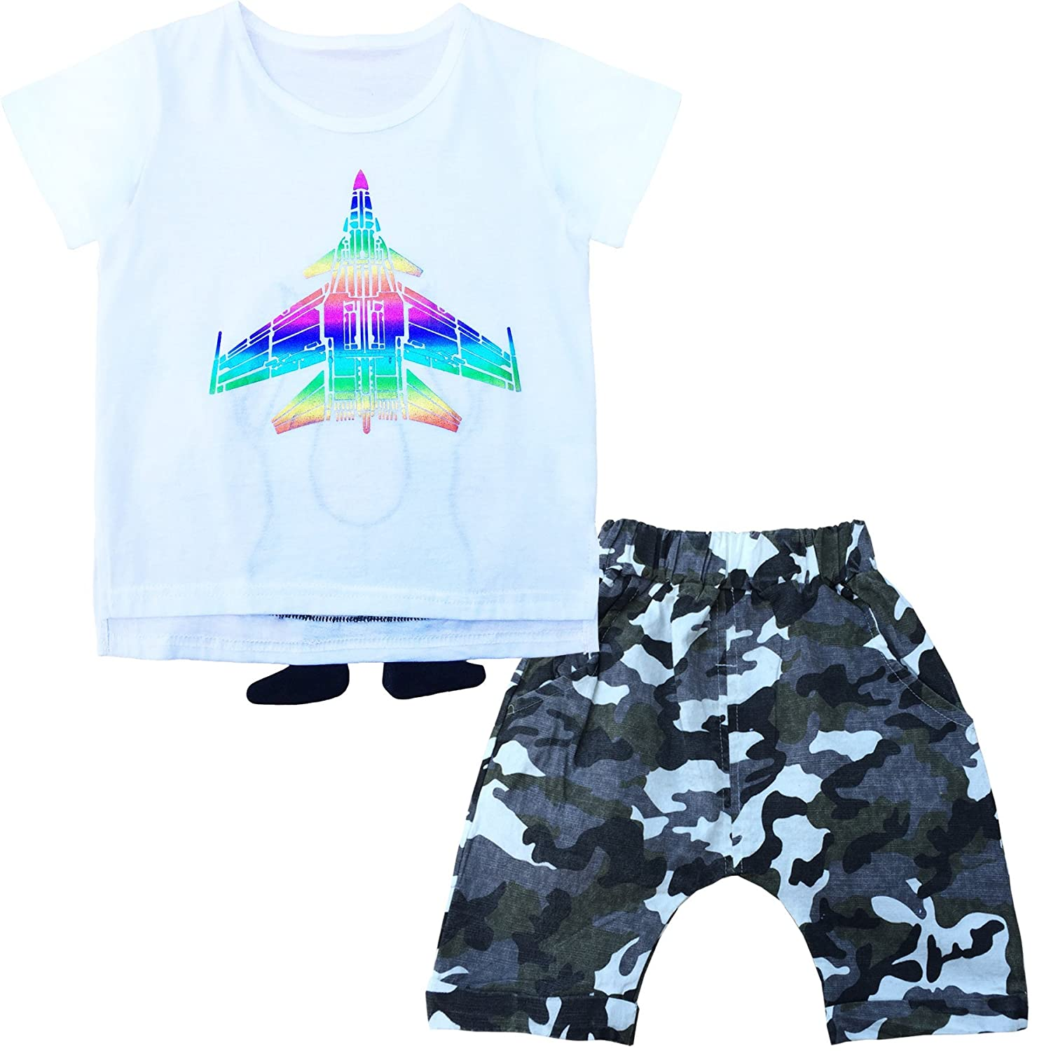 7feda84aa1 T shirt:Cotton 98%,Spandex 20% Pants:Cotton Blending Features:2 pieces set;Short  sleeve;Slim fit;Fashion aircraft graphic on the front and funny monster on  ...