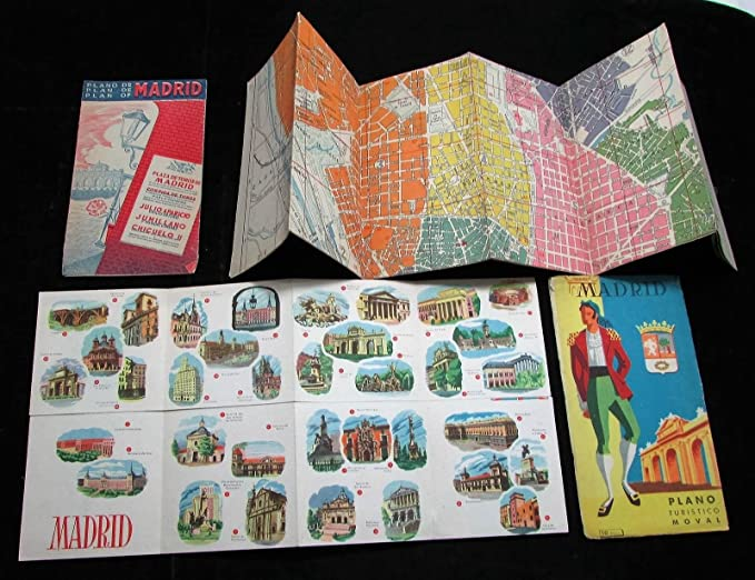 Madrid Spain city map plan c.1930-50s lot of 3 large folding ads