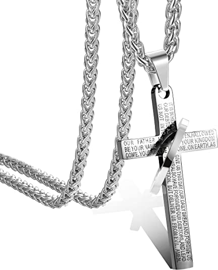 Silver stainless steel Double Nail Cross Pendant Necklace Rolo Chain 3mm 24/'/'