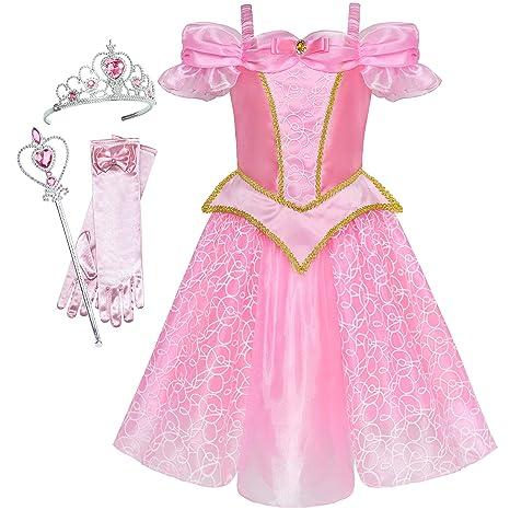 098826407 Sunny Fashion Vestido para niña Princesa Disfraz Accesorios Corona Varita  mágica 10 años