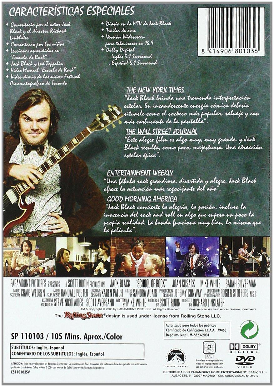 School of Rock [DVD]: Amazon.es: Jack Black, Mike White, Lucas Babin, Sarah Silverman, Joan Cusack, Richard Linklater: Cine y Series TV