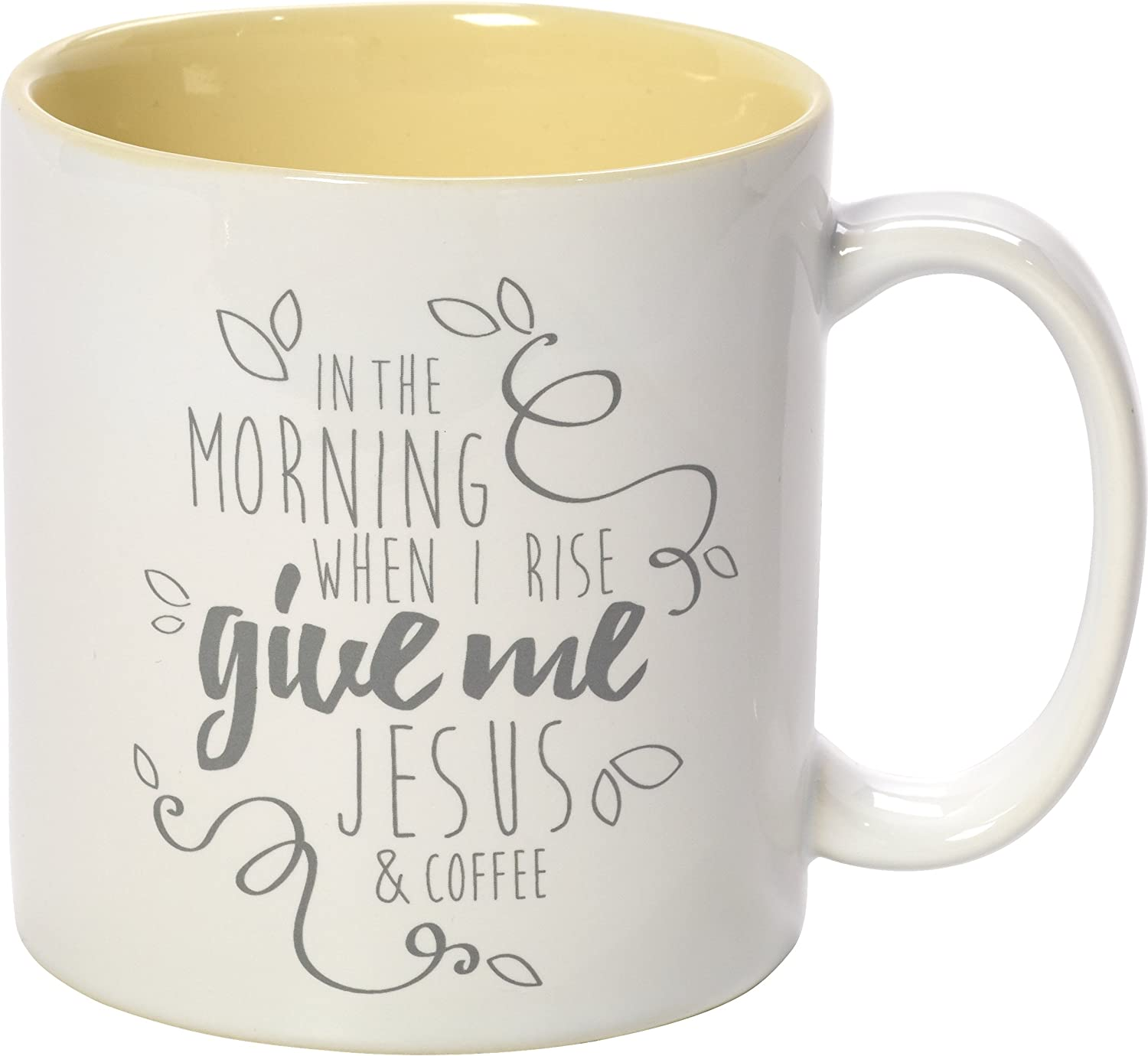 Precious Moments Yellow Stoneware 11oz Coffee Mug Inspirational Home Decor, One Size, Multi