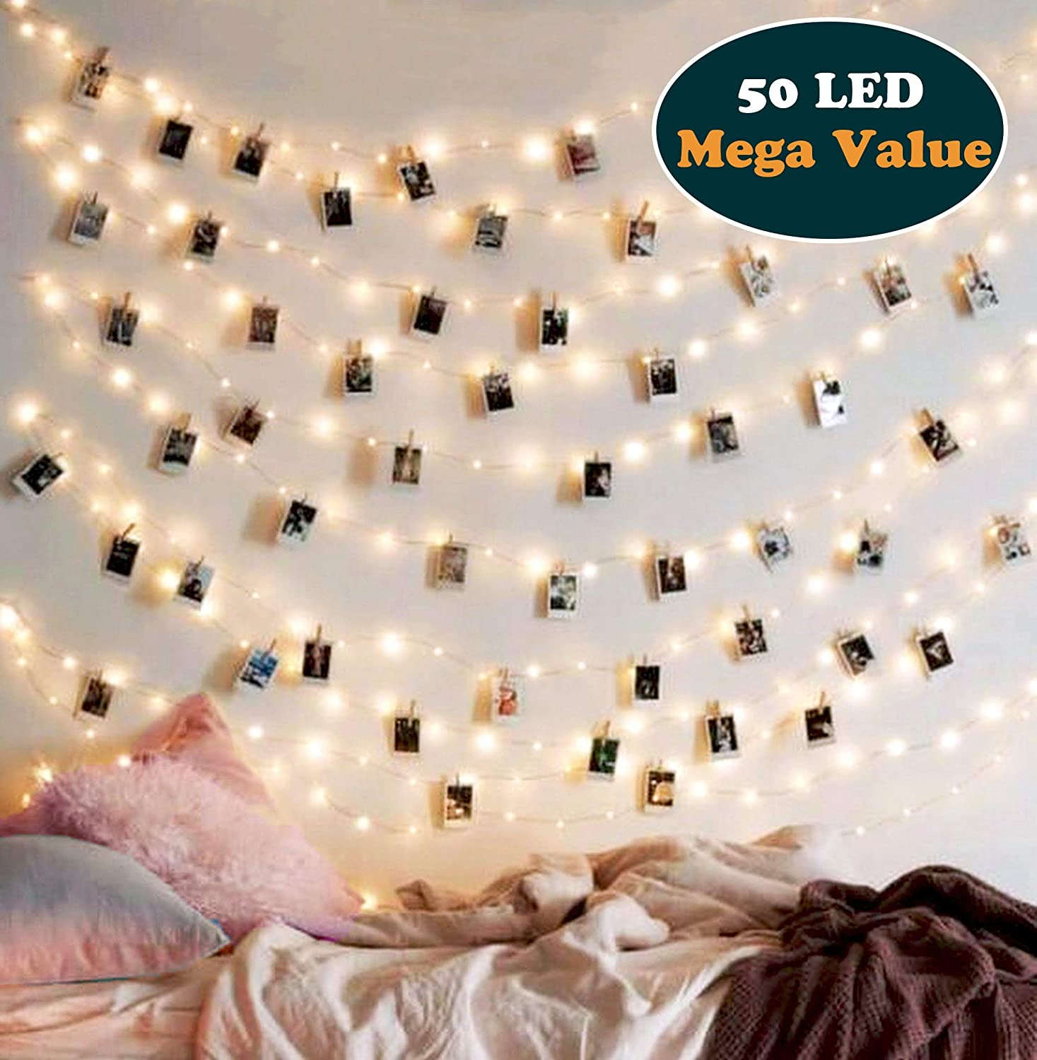 buy popular b62a5 53105 EZDC 50 LED Photo Clip String Lights, Bedroom Fairy Lights with Clips for  Bedroom Decoration to Hang Card, Polaroids & Pictures