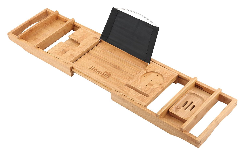 Homiu Bamboo Bath Caddy Premium passt zu den meisten B/ädern 100/% nat/ürlich mit B/ücherablage Weinglasschale Kerzentablett Kindle Ipad und Smartphonehalter