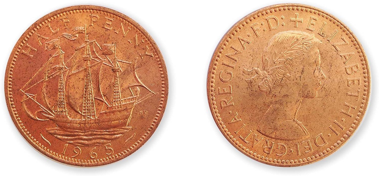 Stampbank Monedas de colección - 1965 fuera de circulación media británica centavo / GB UNC / 1/2 peniques: Amazon.es: Juguetes y juegos