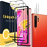 [2+2 Pack] UniqueMe 3D Tempered Glass Screen Protector Compatible for Huawei P30 Pro and Camera Lens Protector, HD Clear [Ful