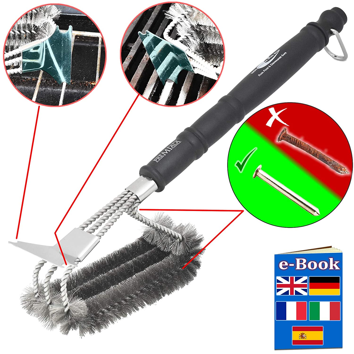 Premium BBQ Grill Brush - 100% stainless steel - keeps your iron, steel and porcelain barbecue smoker grates hygienic, clean and safe! Rain-proof, snow-proof, dishwasher safe, food-safe, bristles won\'t come out and will NEVER go rusty! Premiala