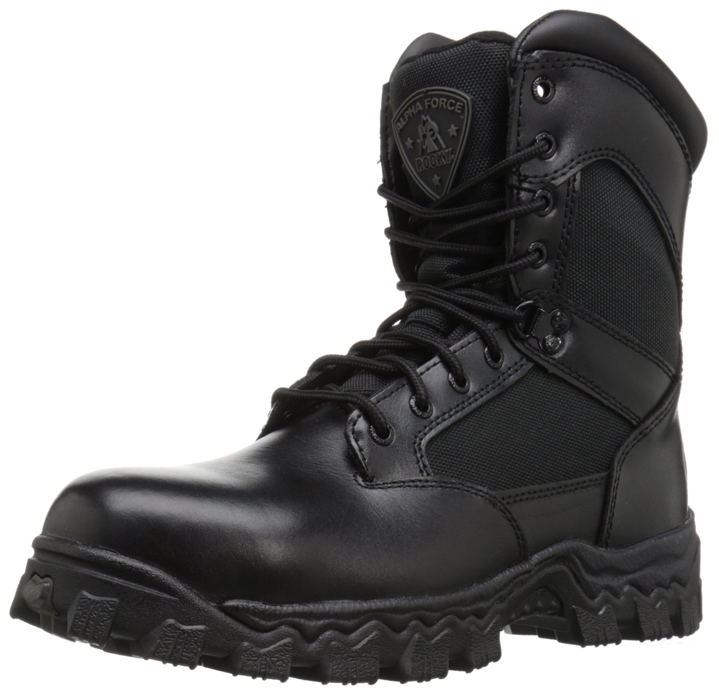 Rocky Men's Alpha Force 8 Inch Side Zip Steel Toe Work Boot,Black,9.5 M US