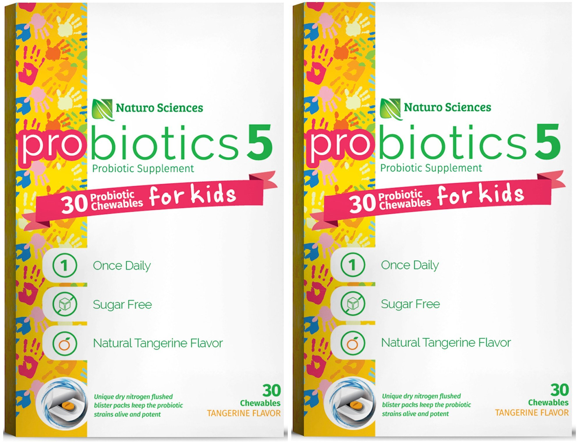 Naturo Sciences, Chewable Kids Digestive Probiotics, Nitrogen Filled Blister Packs for Best Product Freshness, 30 Once Daily Sugar Free Natural Tangerine Favor - Pack of Two
