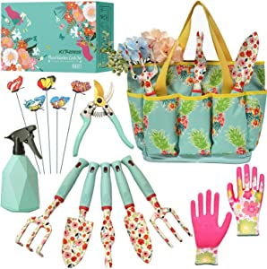 Kit4Pros Floral Garden Tool Set| Gardening Gifts for Women Birthday| Heavy Duty Tools Kit|Storage Tote Bag Organizer| Pruning Shears| Gardener Gloves| Sprayer| Weeder| Trowel (Floral Set)