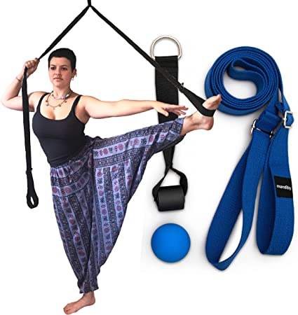 """Mandiby Yoga Dance Gymnastics MMA Flexibility & Leg Stretcher with Door Anchor - 100"""" long, 1.5"""" wide - for Cheerleading, Gymnastics, Ballet, Figure Skating, and Dance - with Fascia Ball and Carry Bag"""