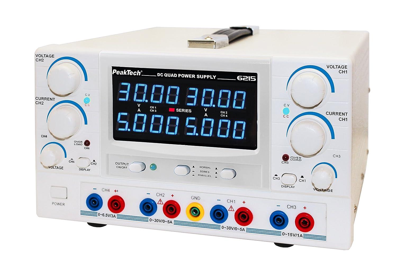 8/ /15/V//1/A DC 3/ 1/pezzi /6,5/V//3/A /5/A Peak tech Alimentatore da laboratorio DC Linear geregeltes dispositivo 4/CH 2/x 0/ /30/V//0/ P 6215