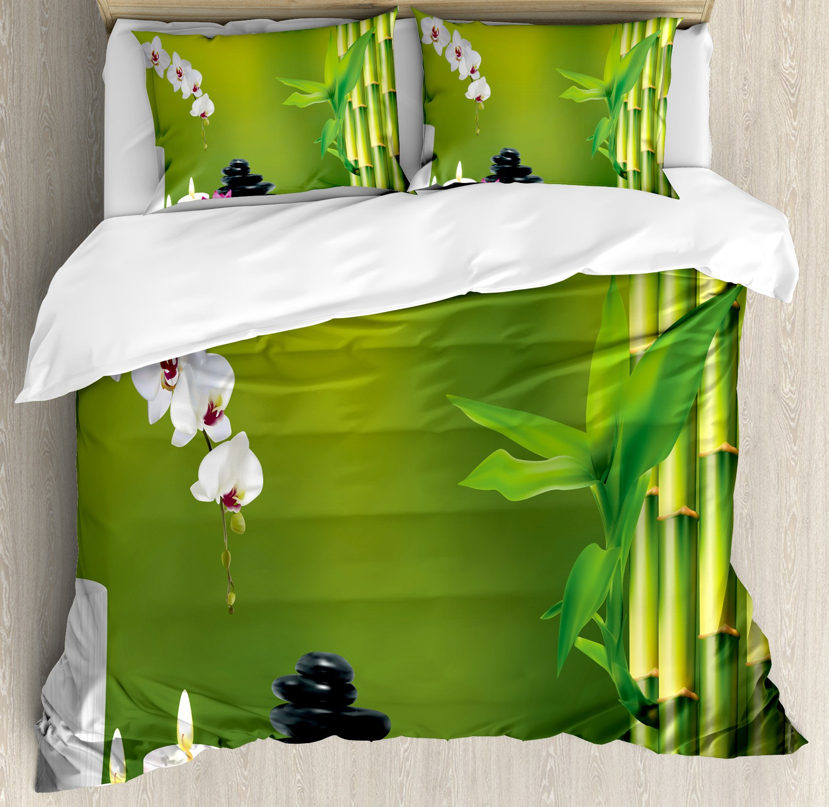 Spa Decor Duvet Cover Set King Size by Ambesonne, Bamboo Flower Stone Wax on the Table Orchid Rock Healthy Lifestyle, Decorative 3 Piece Bedding Set with 2 Pillow Shams