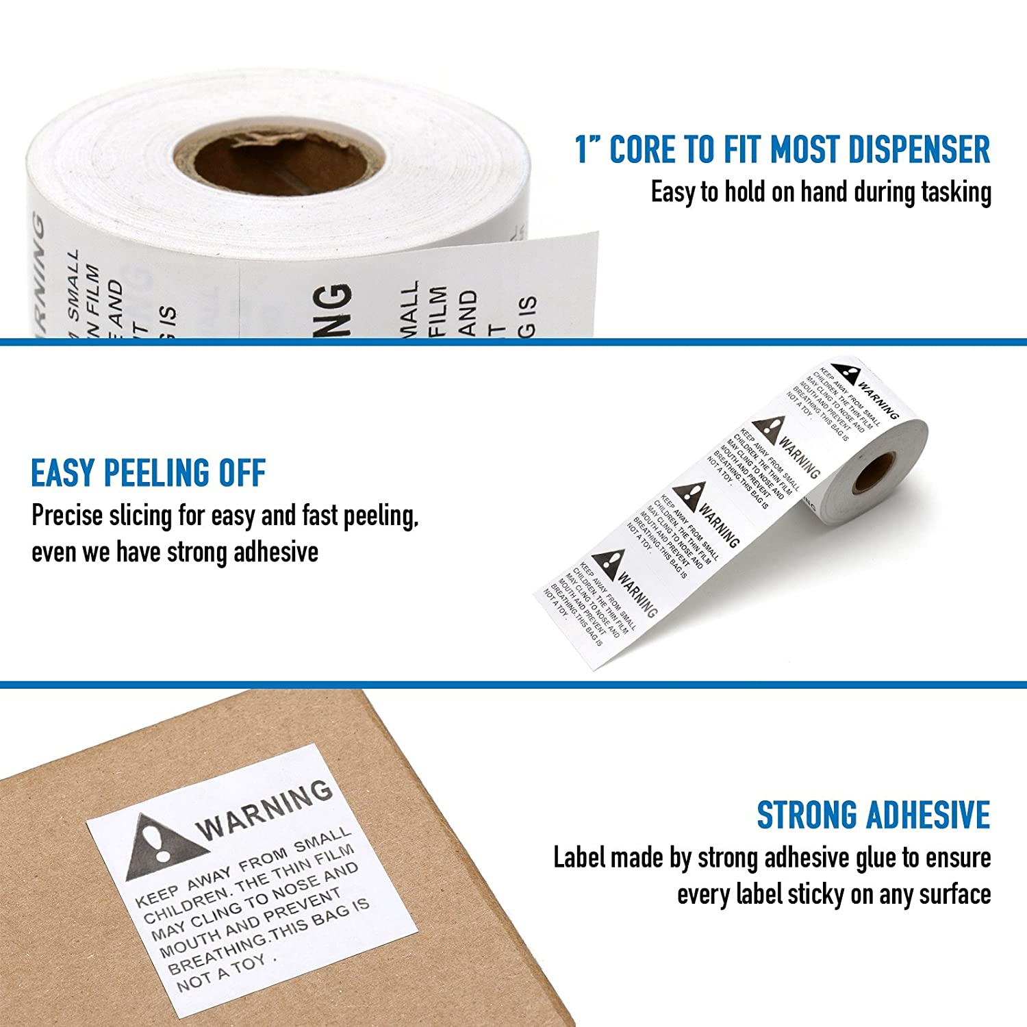 500 Per Roll Peel /& Stick 2 X 2 2 Rolls FBA 1000 Labels Pacific Mailer Suffocation Warning Labels
