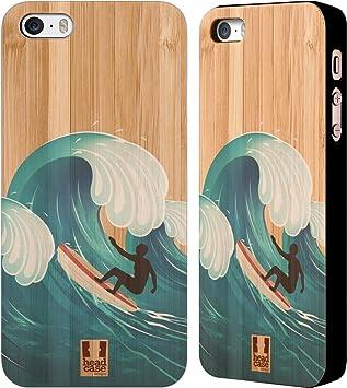 Head Case Designs Surf De Vague Surfeurs Étui Coque en Bois De Bambou pour Apple iPhone 5 / 5s / Se
