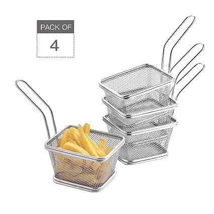 Velaze Cesta de Fritos Mini Fritas Set 4 Piezas de Acero Inoxidable, Cesta Freidora Filtro para Patatas Fritas, Camarones, Aros de Cebolla de Cocina, ...