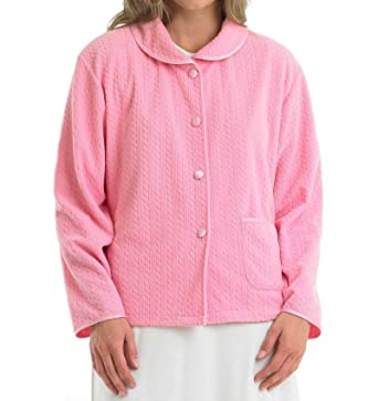 Slenderella Ladies Soft Fleece Button Up Bed Jacket Cable Pattern Peter Pan  Collar Housecoat - Large (Pink)  Amazon.co.uk  Clothing 3e649294a