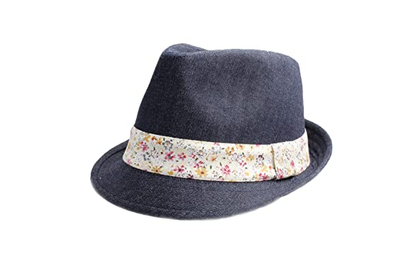 Accessoryo Women s Dark Blue 57cm Denim Effect Trilby Hat with Colourful  Floral Print Band f98f1ff5039f