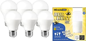 Miracle LED Yellow Bug Light MAX - Replaces 100W - A19 Outdoor Bulb for Porch and Patio - 6 Pack (604993)