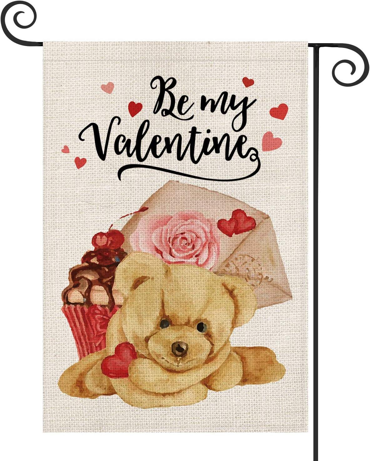 AVOIN Be My Valentine Bear Garden Flag Vertical Double Sized Rose Cupcake, Anniversary Wedding Yard Outdoor Decoration 12.5 x 18 Inch