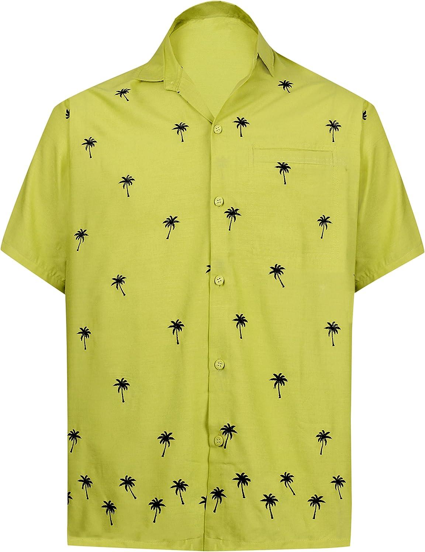 LA LEELA Rayon Sciolto Aloha Hawaiian Pulsante Maniche Corte Camicia degli Uomini Gi/ù Hawaiian