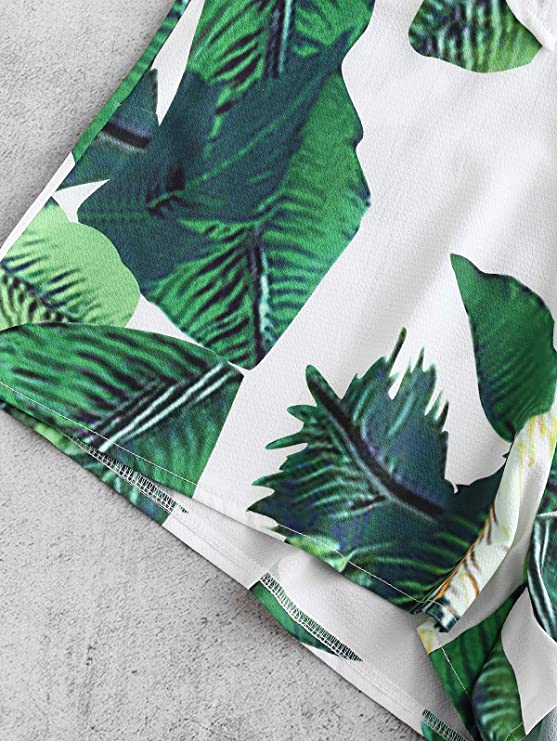 177d0e6686 Amazon.com  ZAFUL Women Leaf Print Crop Knot Top and Shorts Set Swimsuit  Holiday Wear  Clothing