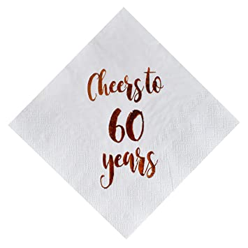 2a5dd7f0a2004 MAGJUCHE Cheers to 60 Years Cocktail Napkins, 50-Pack 3ply White Rose Gold  60th