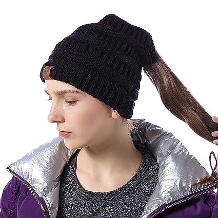 b7b298886 Amazon.com: INFLATION Ponytail Beanie High Bun Hats BeanieTail Girls ...