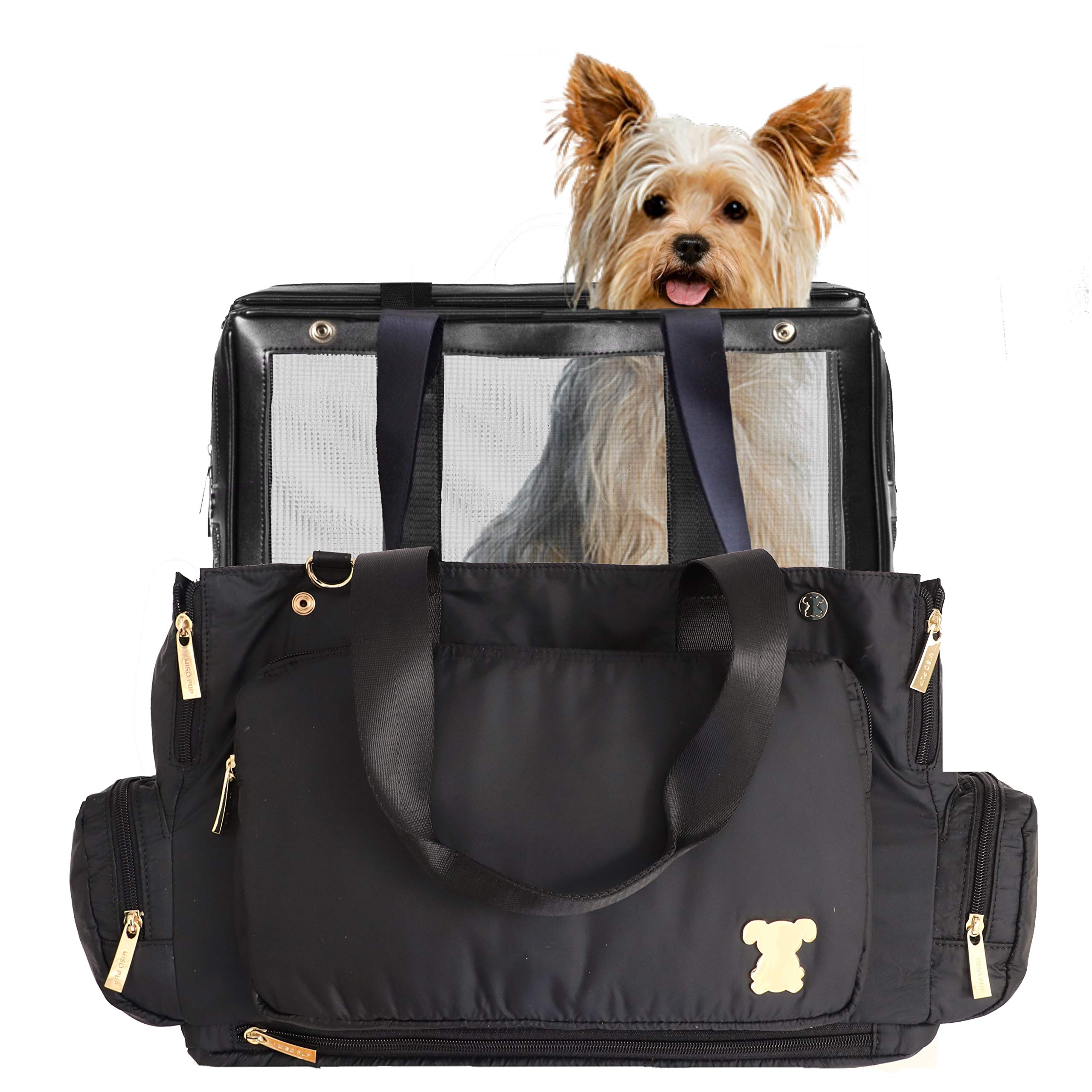 MISO PUP Unisex Flight Bag Interchangeable Airline Approved Pet Carrier Combo Ultra Lightweight with Pockets for Small Dogs (Pet Carrier Base & Shell Tote) by MISO PUP