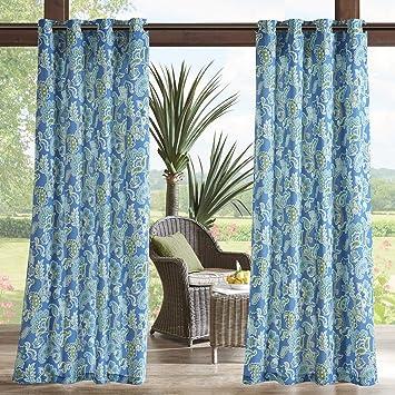 Amazon.com: Madison Park Blue Grommet Curtains for Living ...