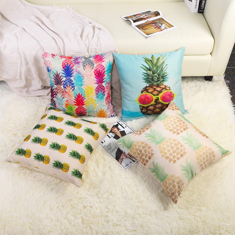 Leaf JOTOM Cotton Linen Cushion Cover Decorative Throw Pillow Cover Sofa Car Square Pillowcase for Home Bed Decor 45 x 45cm,Set of 4