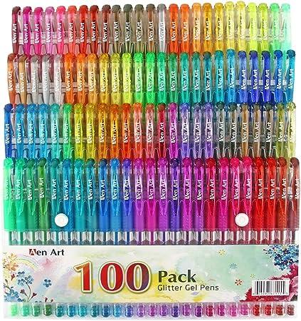 Glitter Gel Pen by aen arte, Set de 100 colores únicos con purpurina bolígrafos con agarre para adulto para colorear libros Bullet diario manualidades dibujo Doodling – perfecta idea de regalo: Amazon.es: