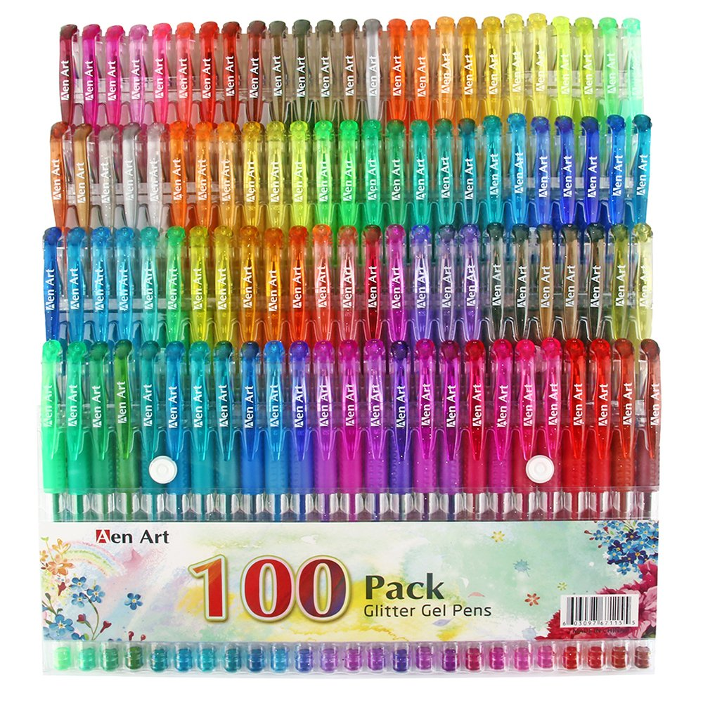 100 Colors Glitter Gel Pen Set, 30% More Ink Neon Glitter Coloring Pens Art Marker for Adult Coloring Books Bullet Journal Crafting Doodling Drawing