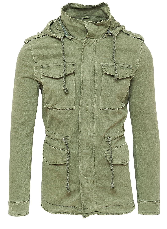 Giubbotto parka uomo verde casual giacca trench con cappuccio ingrandisci c00b8973b83