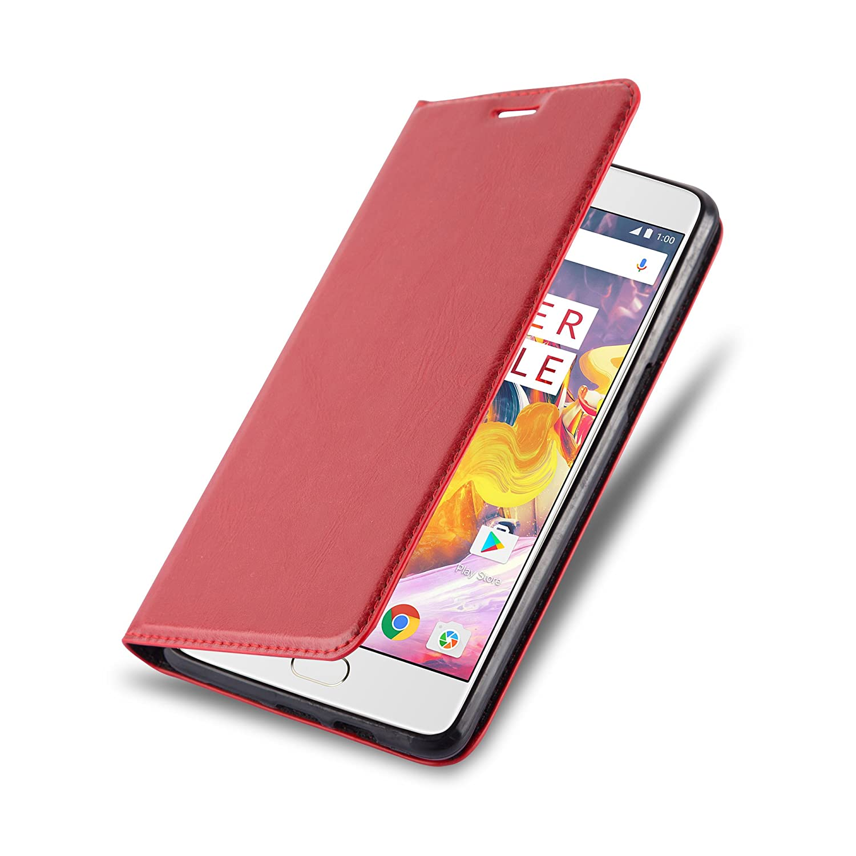 Cadorabo Funda Libro para OnePlus 3 / 3T en Rojo Manzana – Cubierta Proteccíon con Cierre Magnético, Tarjetero y Función de Suporte – Etui Case Cover ...