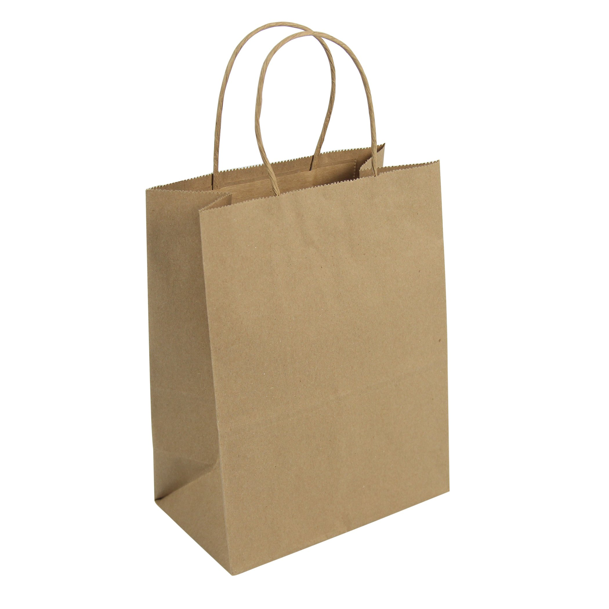 Duro ID# 87097 Tempo Shopping Bag 60# 100% Recycled Natural Kraft 250pk 8 x 4.5 x 10.25 by Duro