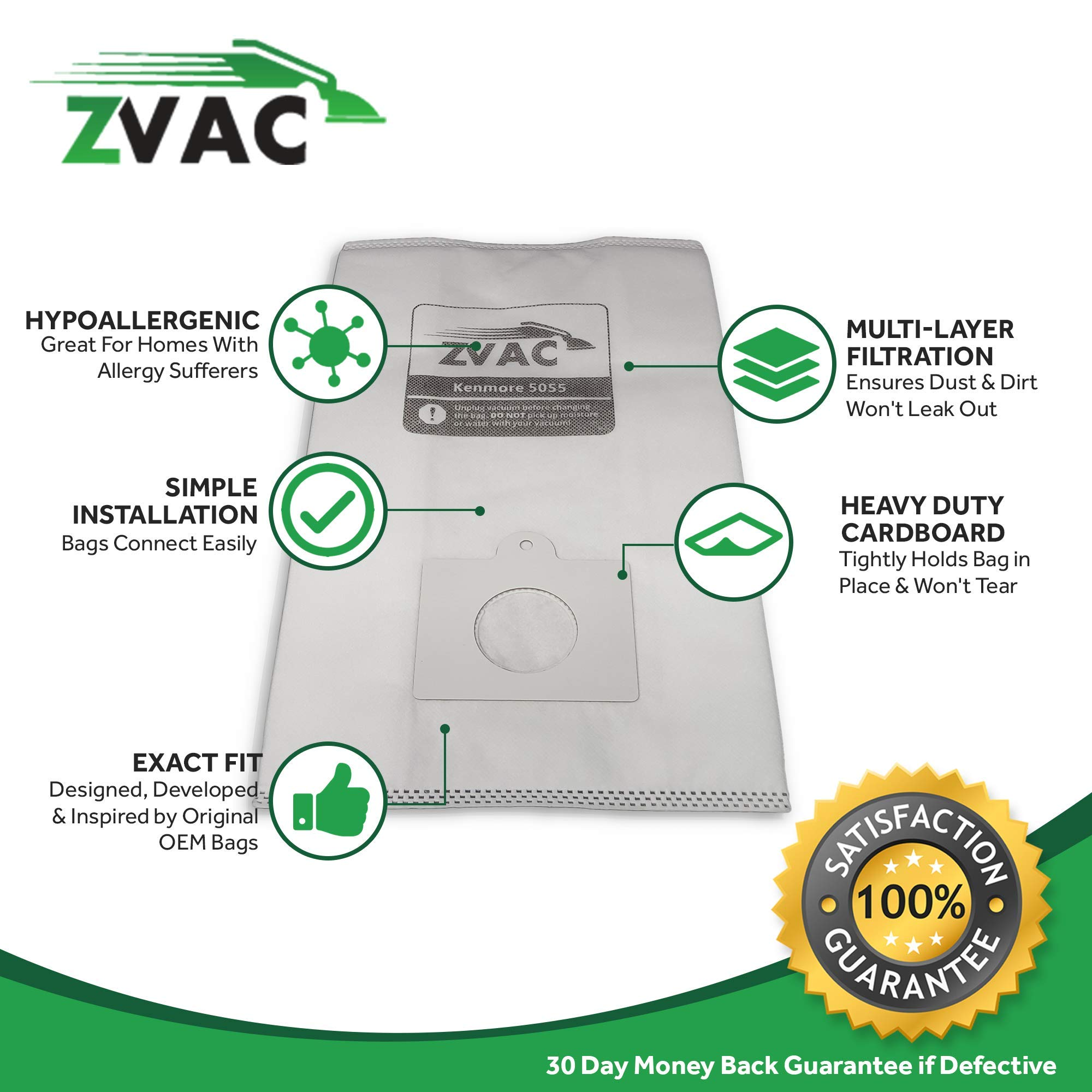 ZVac Kenmore Style C/Q Micro Filtration Canister Cloth Vacuum Bags Similar to 50558, 5055, 50557, 30 Pack