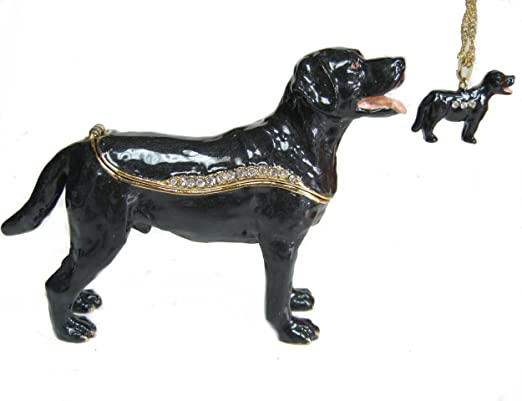 Bejeweled Black Labrador Trinket Box