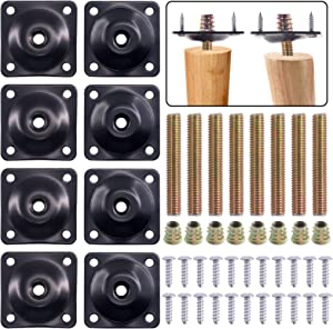 Swpeet 8 Sets Black 12 Degree + Flat Angled Leg Mounting Plates with Hanger Bolts Screws, Furniture Leg Attachment Plates Industrial Strength T-Plate M8 Sofa Legs with Hanger Bolts