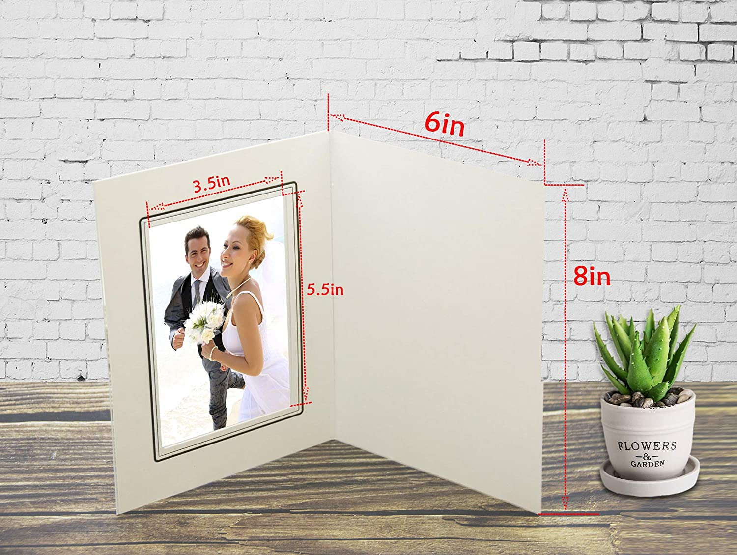 Golden State Art Pack of 50 Cut Corners GS010-S Ivory Color Cardboard Photo Folder for 5x7//4x6