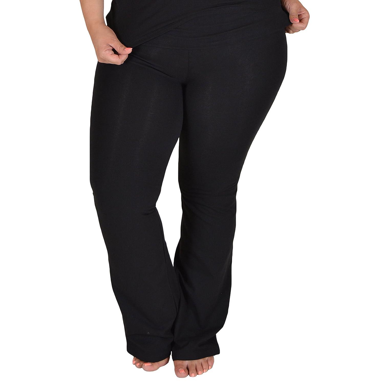 0c80646023d4b5 Amazon.com: Stretch is Comfort Women's Foldover Plus Size Yoga Pants:  Clothing