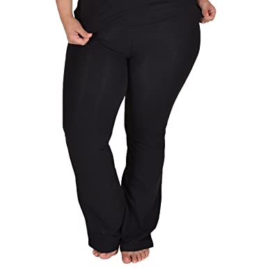 4754acdd089 Amazon.com  Stretch is Comfort Women s Foldover Plus Size Yoga Pants ...