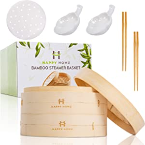 Bamboo Steamer Basket 10 Inch 2 Tier - Steam cooker for dim sum dumplings, bao bun, rice, fish, vegetable, handmade kitchen cookware for steaming Chinese, Thai, Korean, Asian and Global healthy food